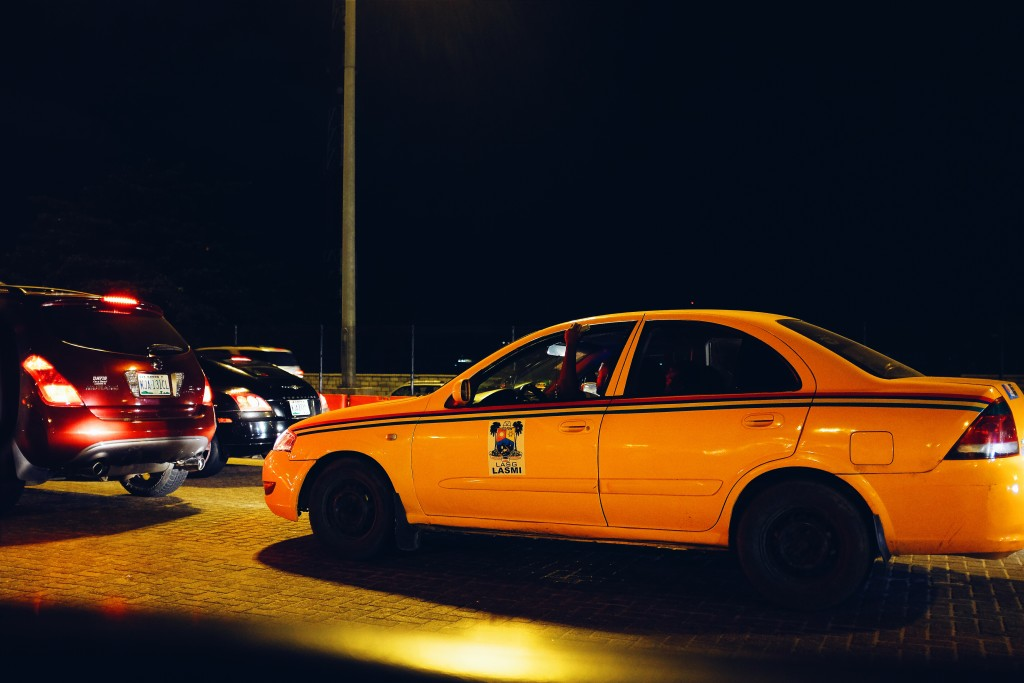 Yellow cab, Lekki Expressway at night
