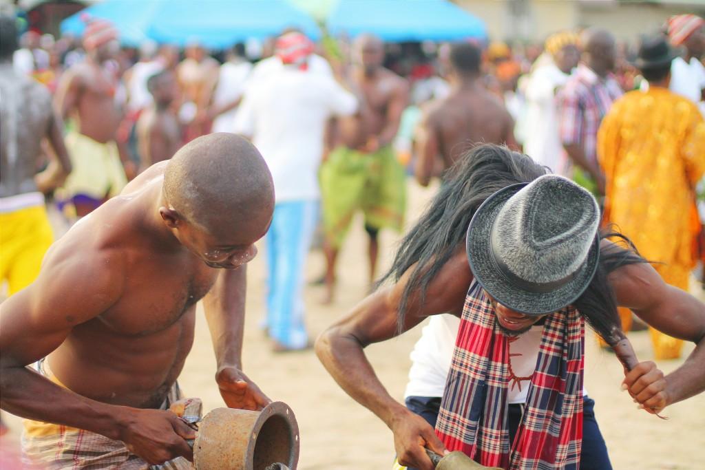 Wrestlers dancing, Ete Wrestling Festival, Isiokpo