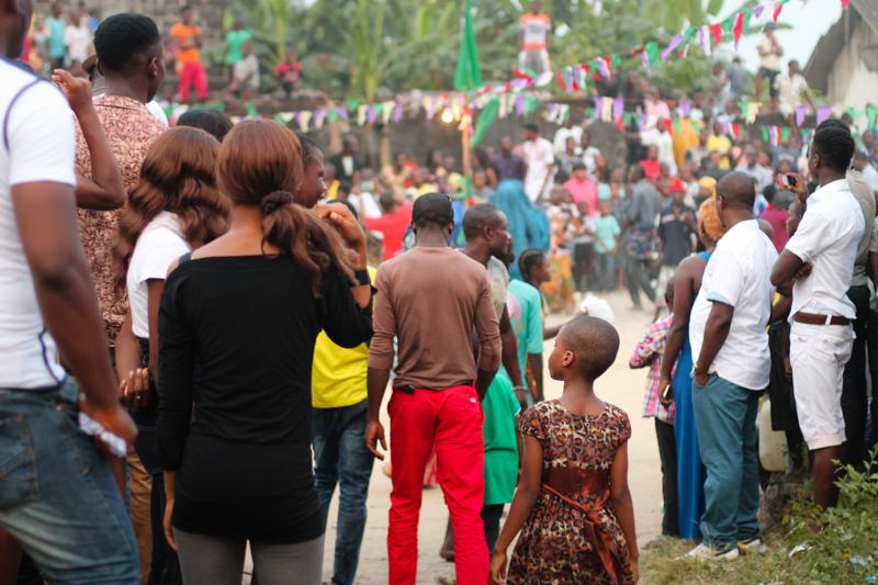 Spectators, Ekpo Masquerade Display,Bakana