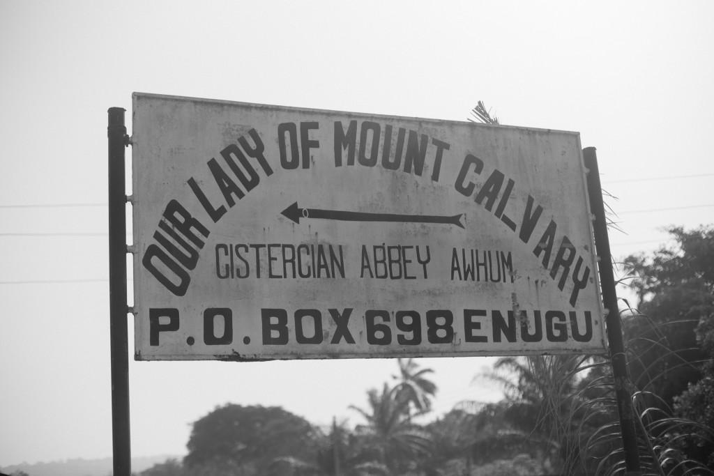 Sign board, Awhum Waterfall and Cave, Enugu