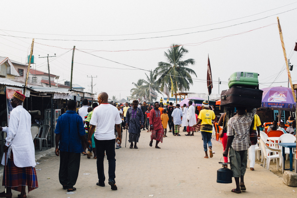People walking on the road, Opobo