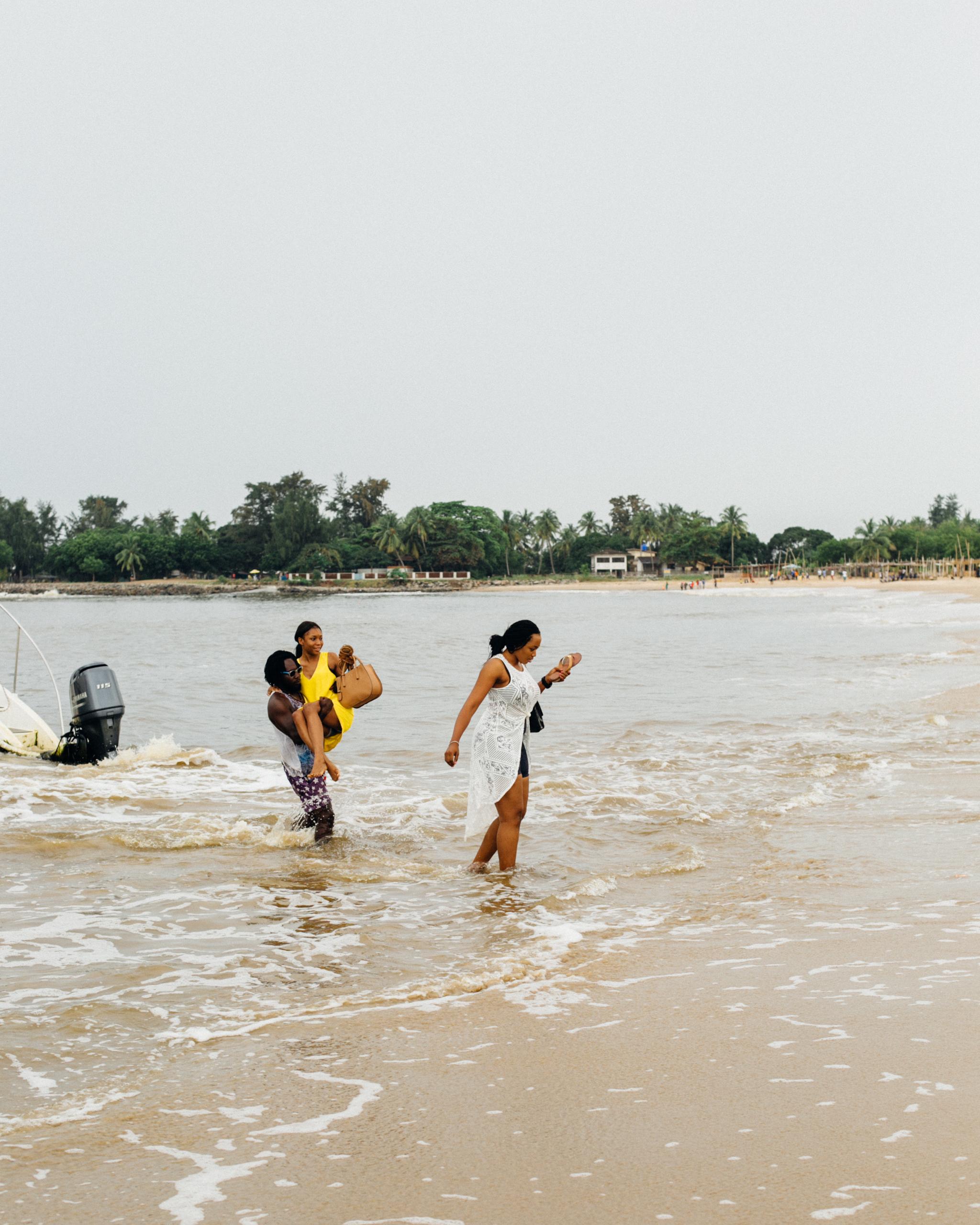 Lady wading in the water, Tarkwa Bay Beach