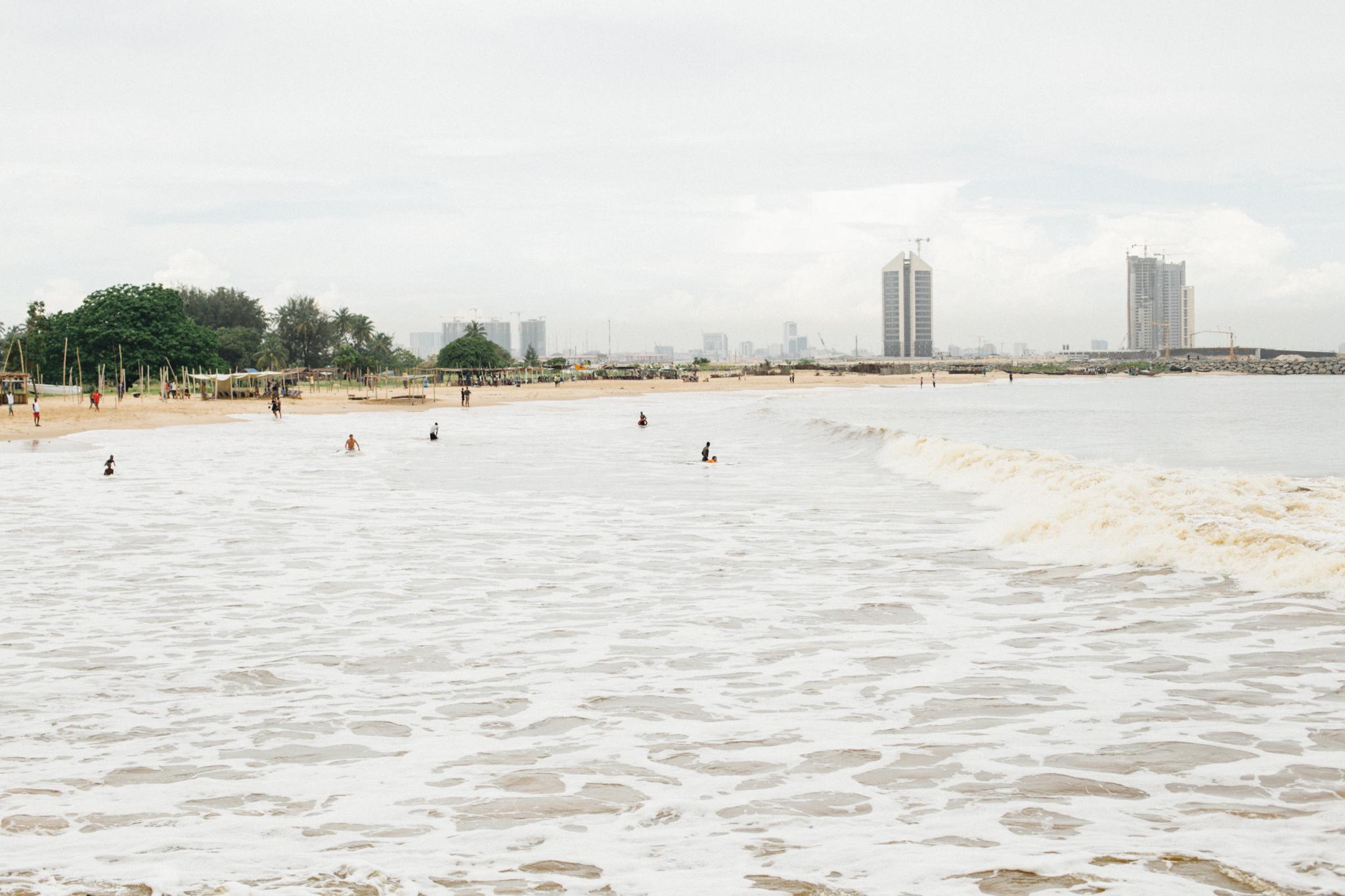 Eko Atlantic Skyline from Tarkwa Bay Beach