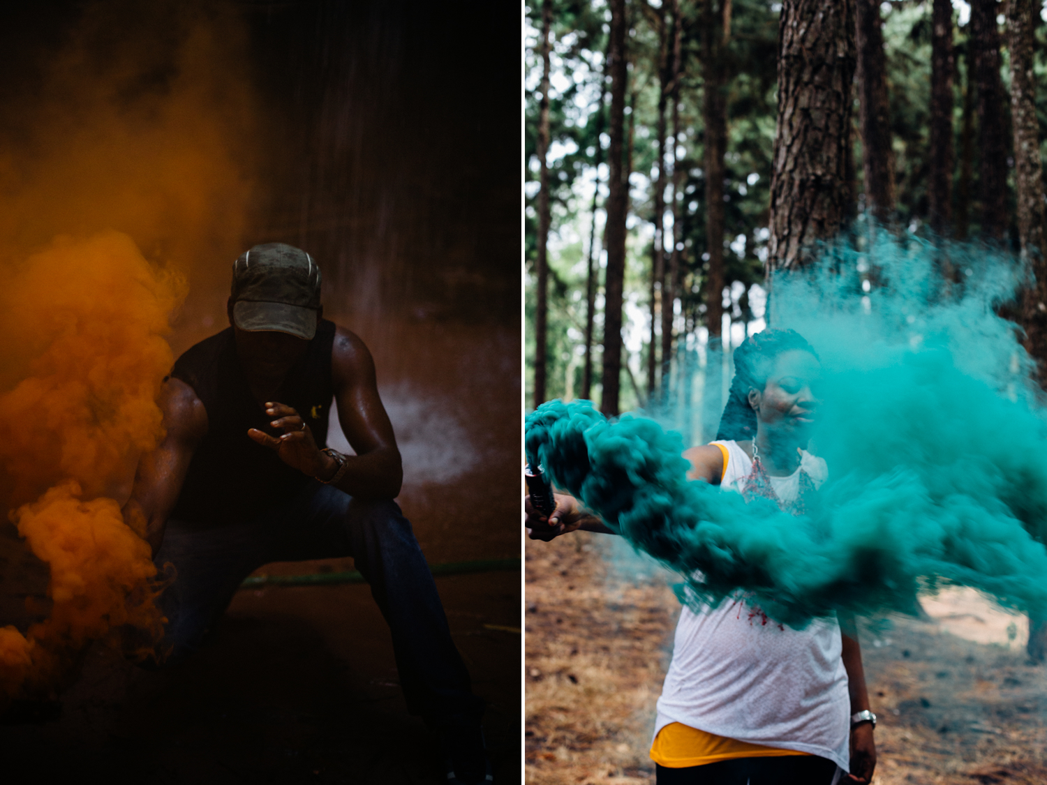 Portraits with smoke bombs, Ngwo Pine Forest, Waterfall and Cave