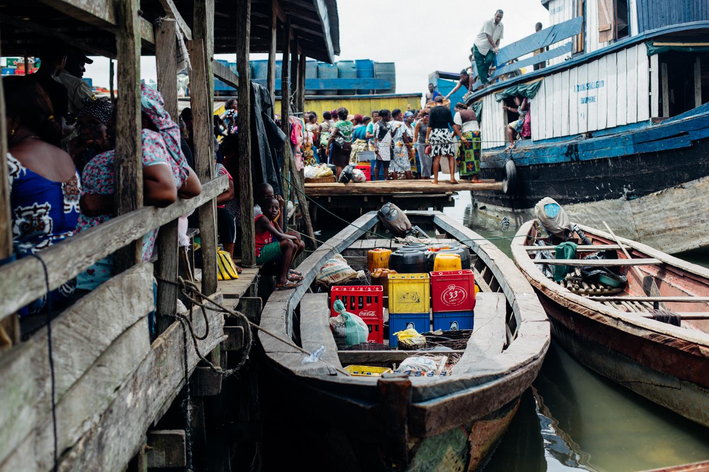 Boats at a market in Koko, Niger Delta
