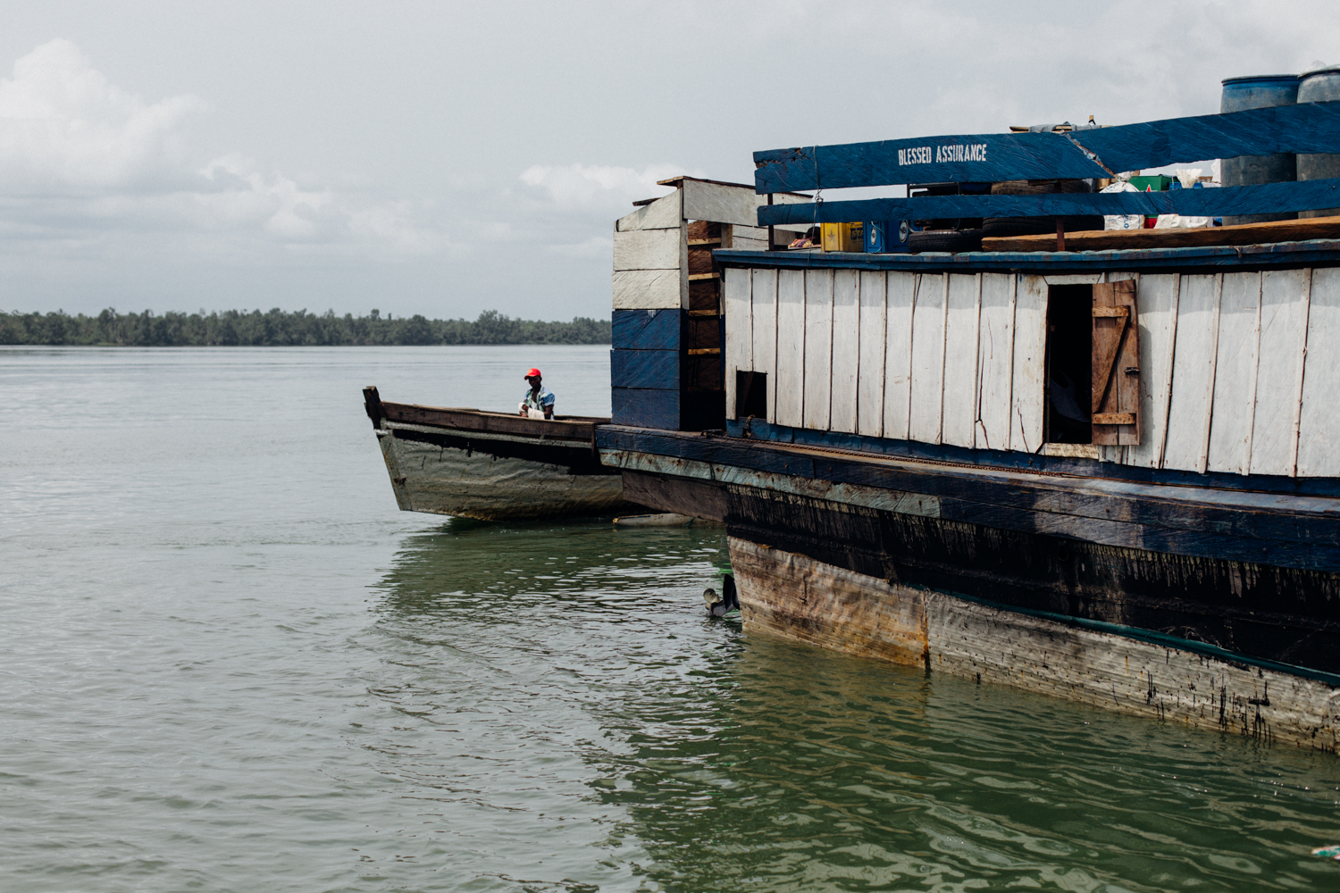 House boat at the floating market in Koko, Niger Delta