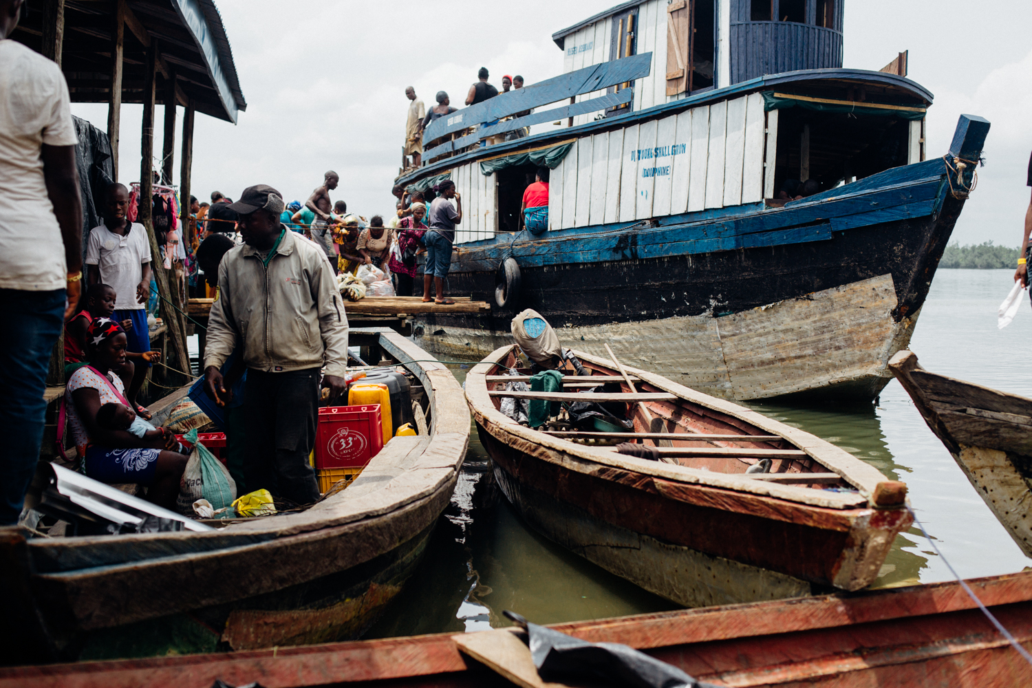 Boats at the floating market in Koko, Niger Delta
