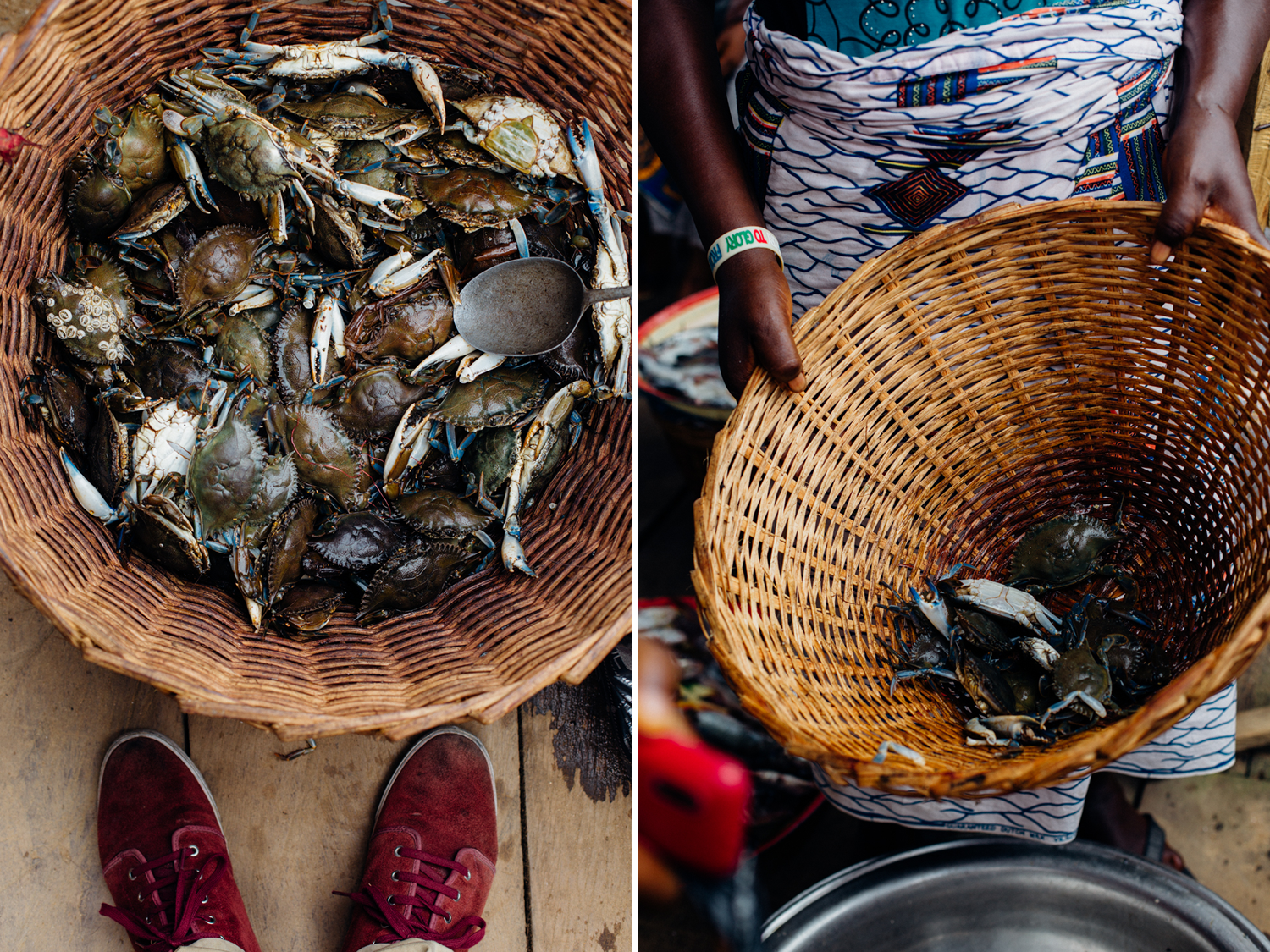 Crabs in a basket at the floating market in Koko