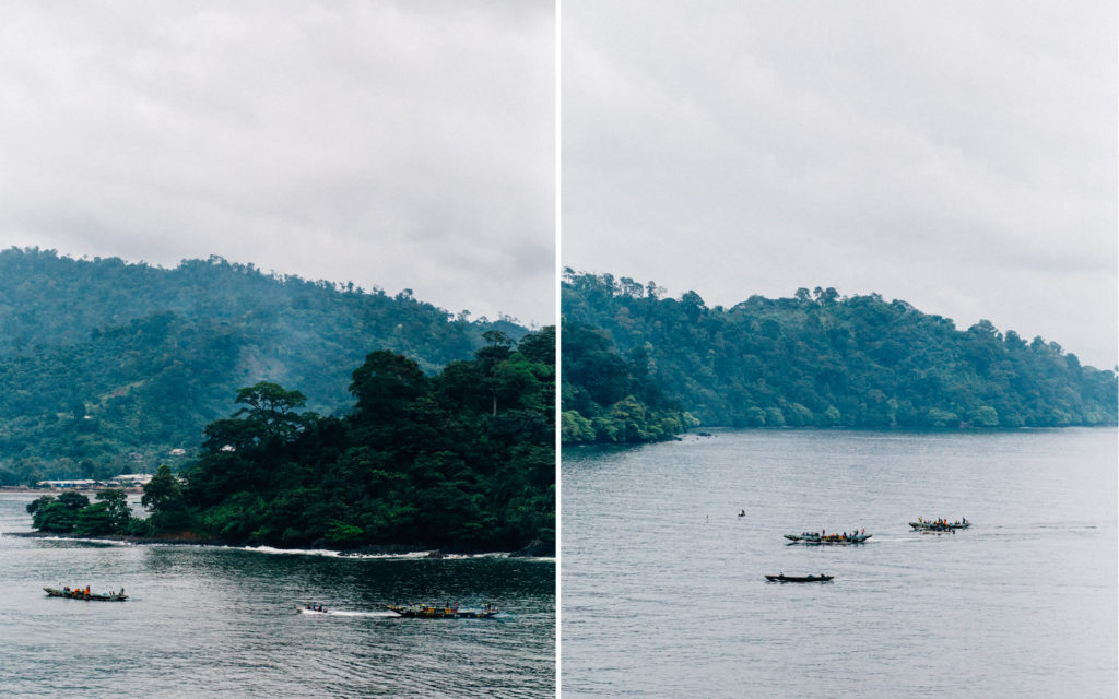 Boats arriving at one of the beaches in Limbe