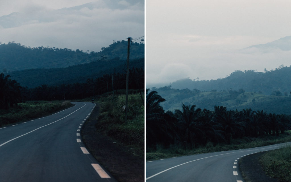 Road to Limbe at sunset